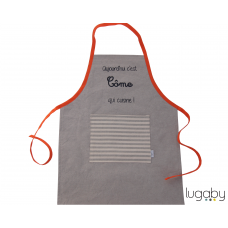 Personalised apron beige/ orange
